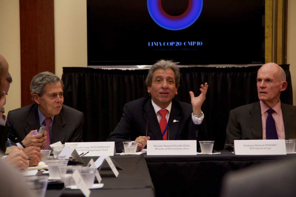 Peruvian Minister of the Environment Manuel Pulgar-Vidal, Professor Richard Stewart of NYU Law, and Ambassador Jorge Voto Bernales of the COP20 Negotiating Team